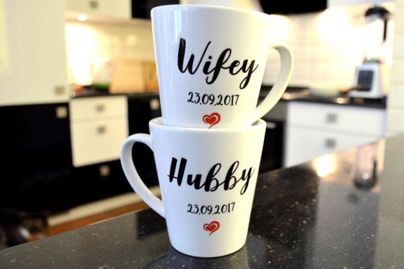 KUBKI ŚLUBNE Latte WIFEY/HUBBY