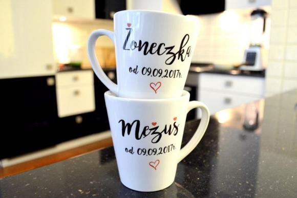 Kubki Ślubne Latte Żoneczka/Mężuś